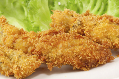 fishery products: Fried oyster Stock Photo
