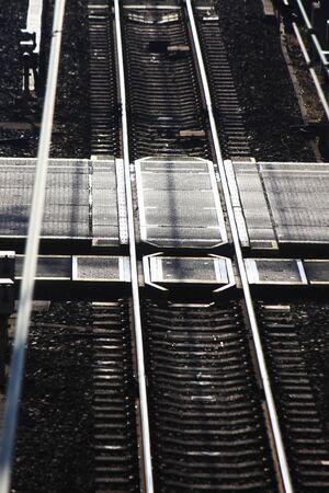 crossings: Railroad crossings Stock Photo