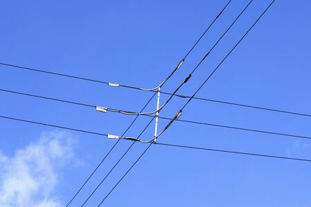 electric wire: Vertical three-phase electric wire