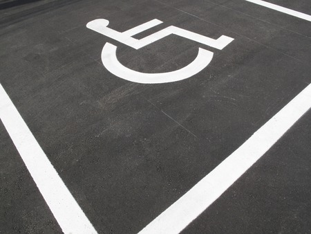 parking spaces: Parking wheelchair private parking spaces Stock Photo