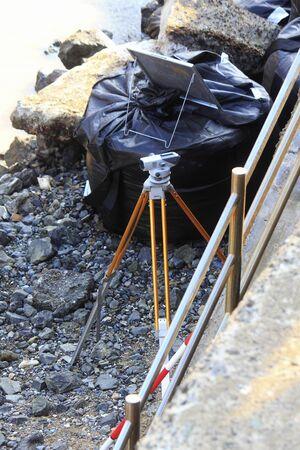 surveying: Surveying of coastal construction Stock Photo