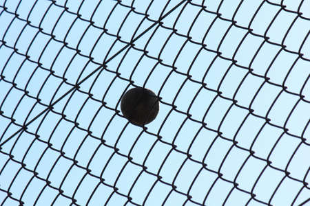 wire mesh: Tennis ball that cuts into the wire mesh Stock Photo