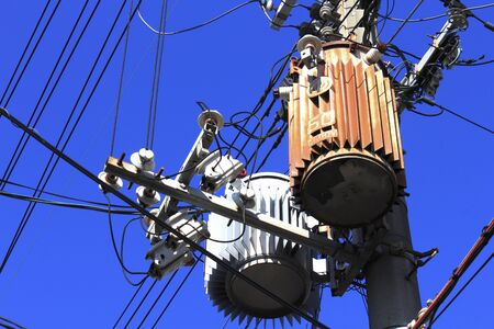 lifeline: Transformer utility poles Stock Photo