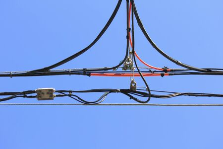 lifeline: Wire and blue sky Stock Photo