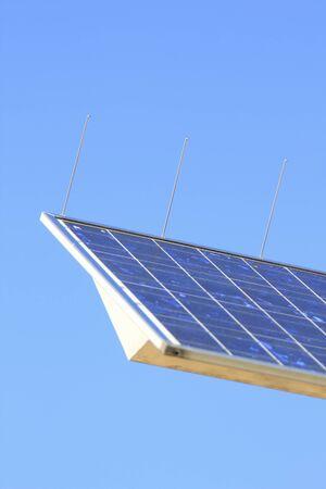 street corner: Solar power panel of street corner Stock Photo
