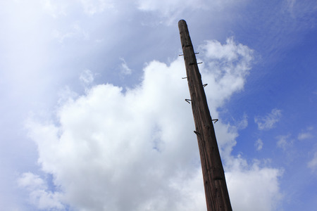 telephone pole: Old wooden telephone pole