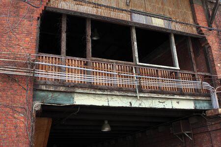 damaged: Damaged brick warehouse