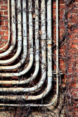 レンガ倉庫の配線管壁