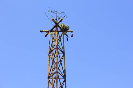 steel tower: Steel tower that was installed speakers for the town publicity