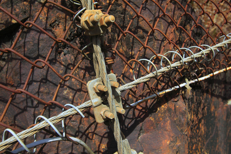 wire mesh: Wire mesh of rockfall prevention of mountainside Stock Photo