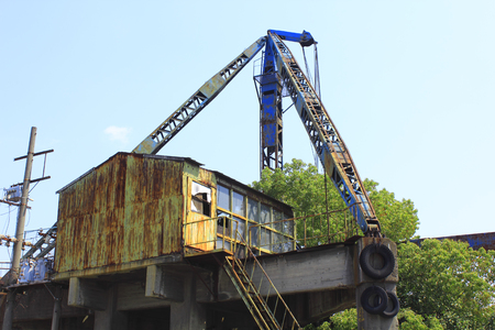 unloading: Crane for unloading shipping Stock Photo