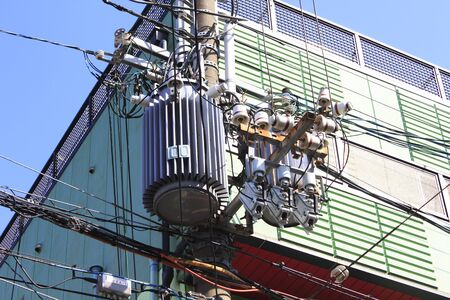 utility pole: Wire and transformer of the utility pole