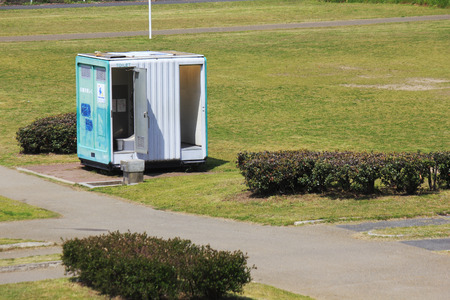 Mobile toilet of riverbed park