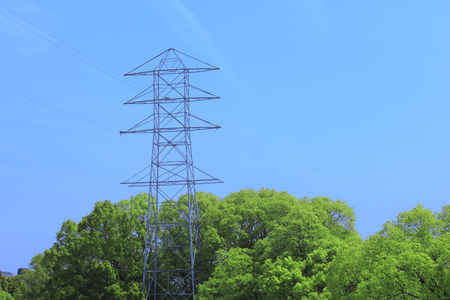 power line transmission: Power transmission line towers and blue sky