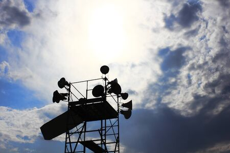 venue: Of the installed loudspeakers in the event venue silhouette Stock Photo