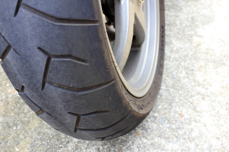 rear wheel: Tire of the rear wheel of the motorcycle