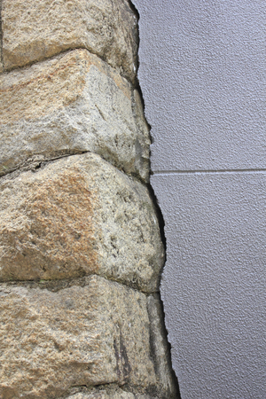 stone wall: Wall of stone wall and concrete
