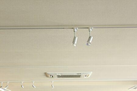 halogen lighting: Ceiling spot lights Stock Photo