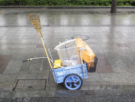 street corner: Cleaning tool of street corner Stock Photo