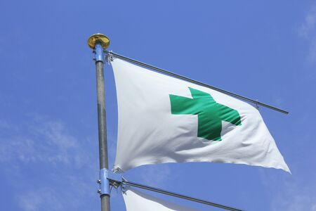 Safety flag of construction site 写真素材