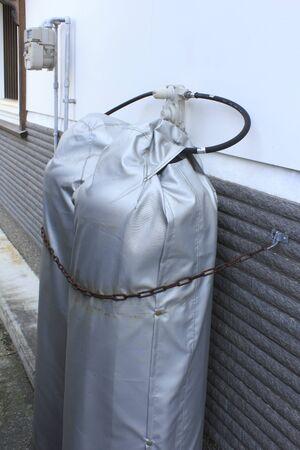 cilindro de gas: Cubierta del cilindro de gas propano Foto de archivo