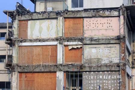 demolition: Building demolition construction site
