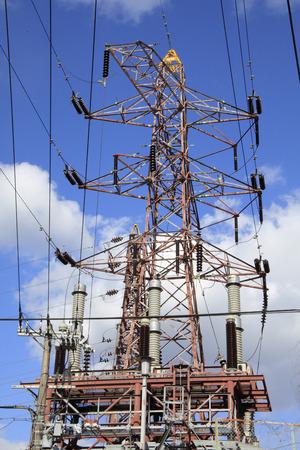 transmission line: Transmission line tower Stock Photo