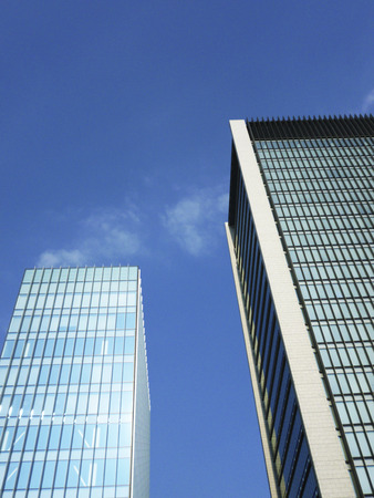 high rise buildings: High rise buildings and blue sky