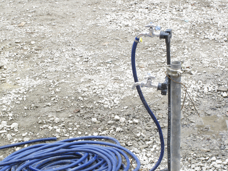 hypothesis: Temporary tap residential construction site Stock Photo