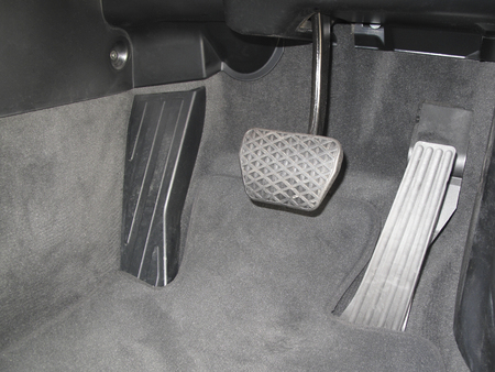 footrest: Accelerator pedal of the passenger car Stock Photo