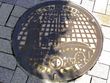 the meridian: Lid of the manhole meridian Stock Photo