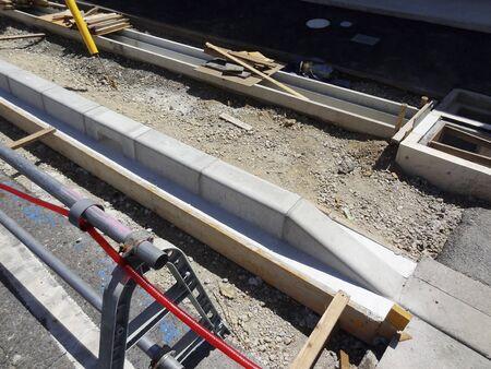 Sidewalk curb masonry work