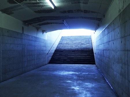 underground passage: Fluorescent lights of underground passage of concrete