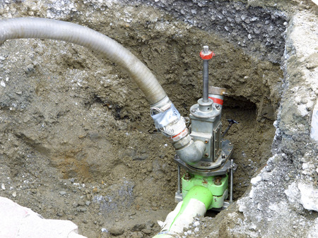 replacement: Gas pipe replacement construction site
