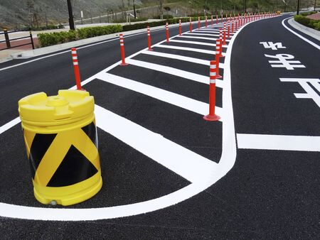 Cushion drum of road safety zone 写真素材