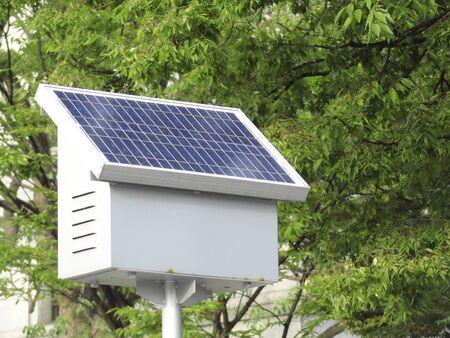 street corner: Solar panel street corner Stock Photo