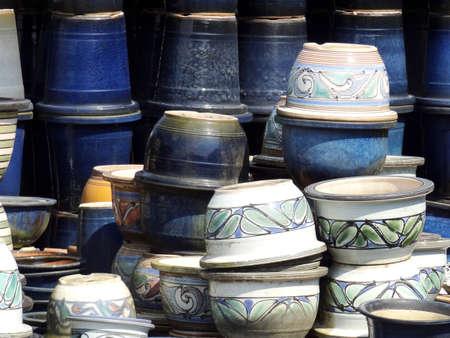 ware: Shigaraki ware flowerpot Stock Photo