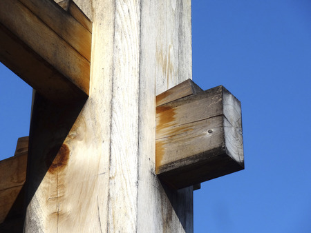 wood pillars: Wedge of wooden architecture of the pillars