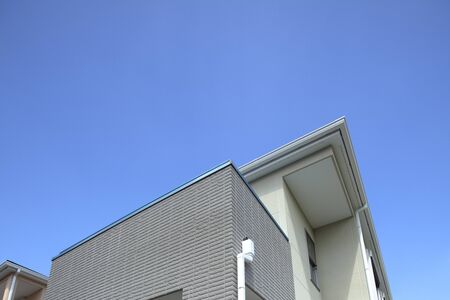 detached houses: New homes with blue sky