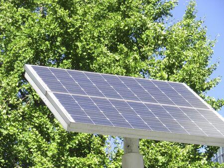 street corner: Mini solar panel of the street corner Stock Photo