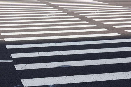 crosswalk: Zebra pattern of crosswalk Stock Photo