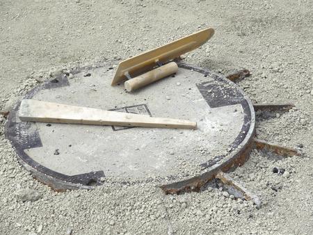 manhole: Manhole sidewalk work Stock Photo