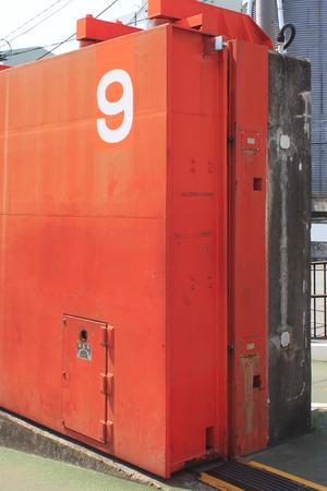 seawall: Door of the seawall of Osaka Port Stock Photo