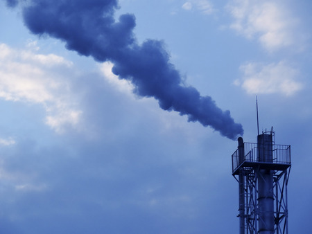 flue: Of the flue gas to the plant chimney Stock Photo