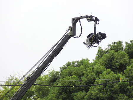 Camera crane of news coverage
