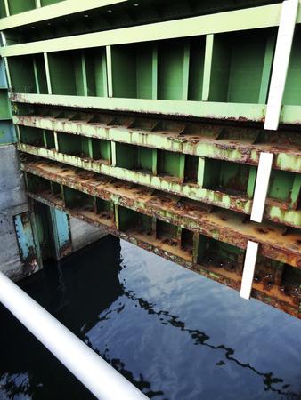 floodgates: River levee floodgates Stock Photo