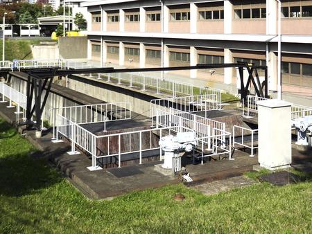 water purification plant: Sedimentation pond water purification plant Stock Photo