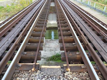 railroad tie: Iron bridge of train