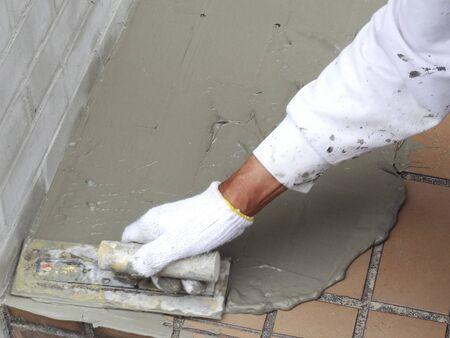 plasterer: Plasterer craftsman Stock Photo