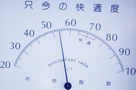 hygrometer: Comfort index of indoor Stock Photo
